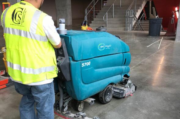 Mercedes Benz stadium floor cleaning