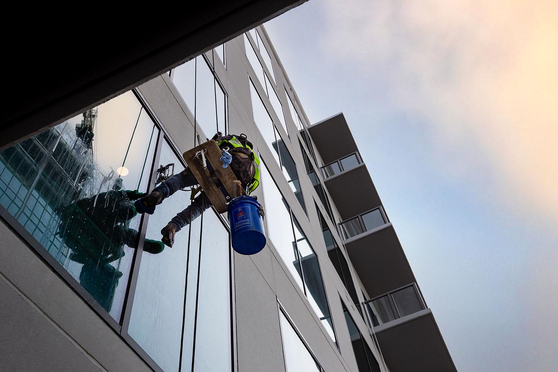 outside office window cleaner